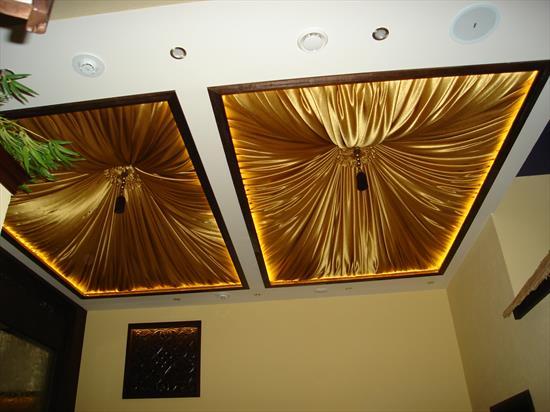 Отделка потолка тканью своими руками 95