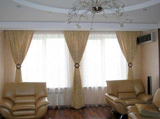 шторы для гостиной на три окна фото