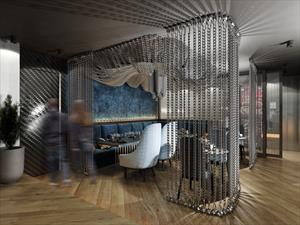 Декоративные стальные цепи для перегородки в VIP-зоне