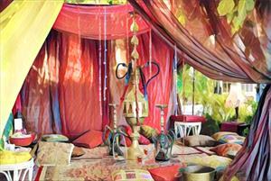 Шторы, занавески и подушки в кальянную комнату