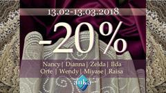 Скидка 20% на кружевные сетки Zelda, Wendy, Raisa, Nancy, Miyase, Ilda, Orfe, Dianna.